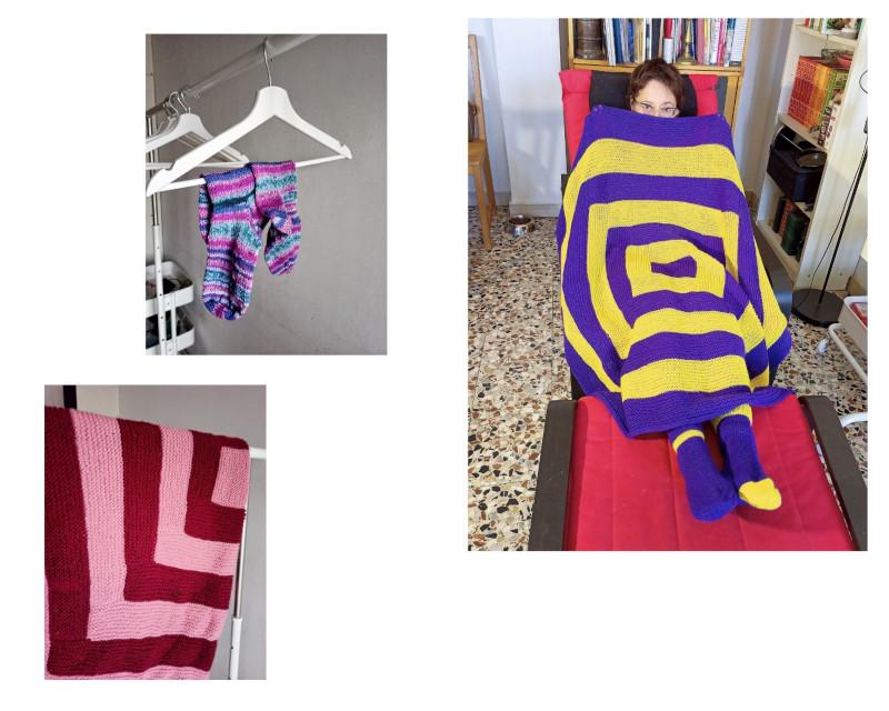 Calze e copertina da divano in lana in colori abbinati e non